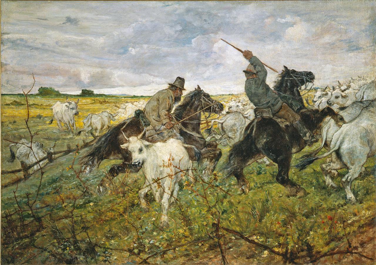"""Giovanni Fattori: """"Butteri con cavalli e buoi"""", firmato 1894"""