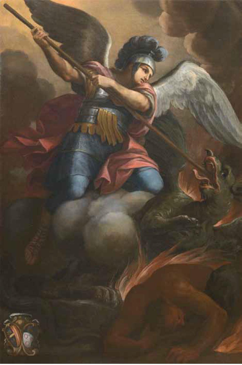 Dipinto su tela San Michele Arcangelo trafigge il demonio in forma di drago Pittore attivo a Siena, seconda metà del secolo XVII dipinto ad olio su tela cm. 202x134 dalla Chiesa di Santa Maria a Pacina